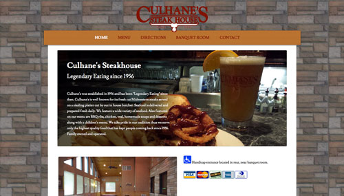 Culhanes Steak House site screen shot